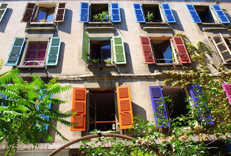 Download Colorful window shutters stock image. Image of facade - 21828137