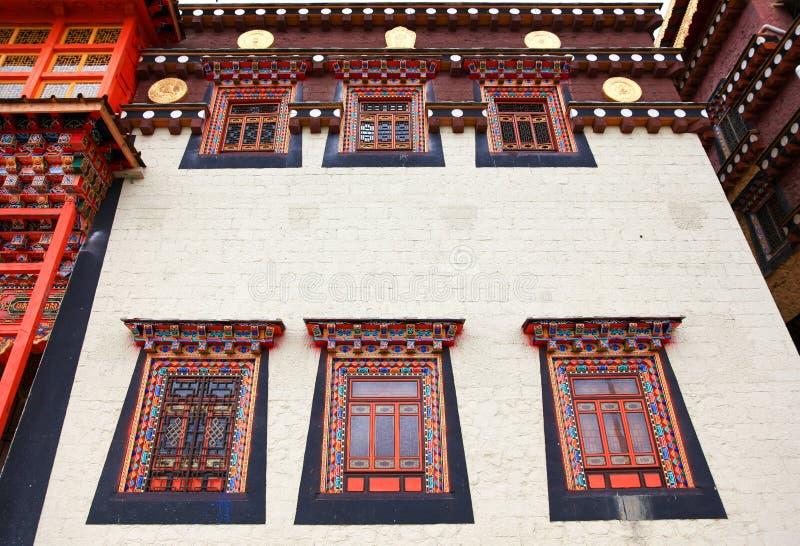 Colorful windows in Songzanlin Monastery in Zhongdian (Shangri-La), Yunnan, China royalty free stock photos