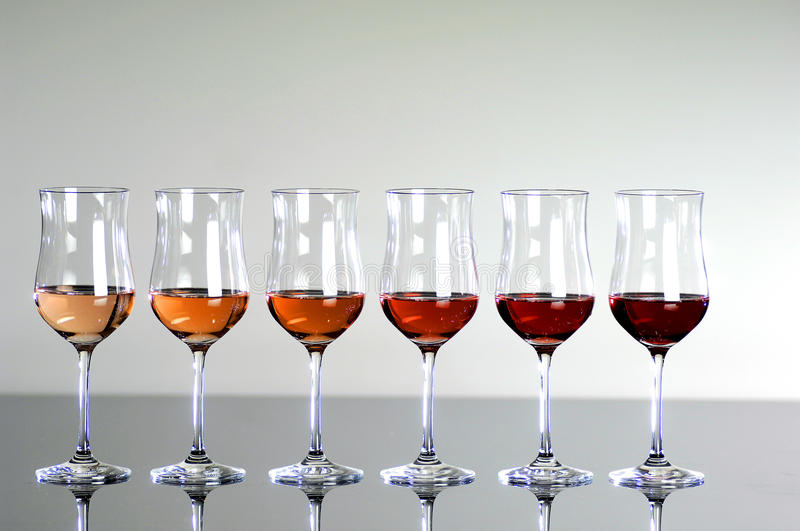 Colorful wine glasses stock image