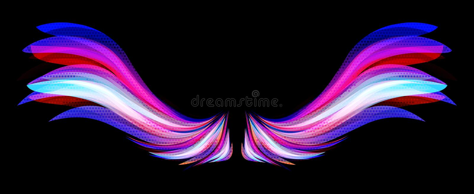 Colorful wings. Creative design of colorful wings with halftone effect stock illustration