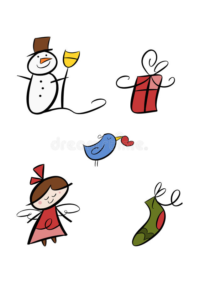 Colorful winter clipart set stock illustration