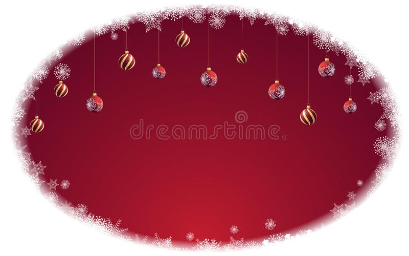 Colorful winter frozen banner with red and gold Christmas balls and place for text. Frame made of hoarfrost and frozen snow in the vector illustration