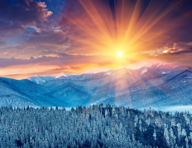 Colorful winter sunrise in the mountains. royalty free stock photos