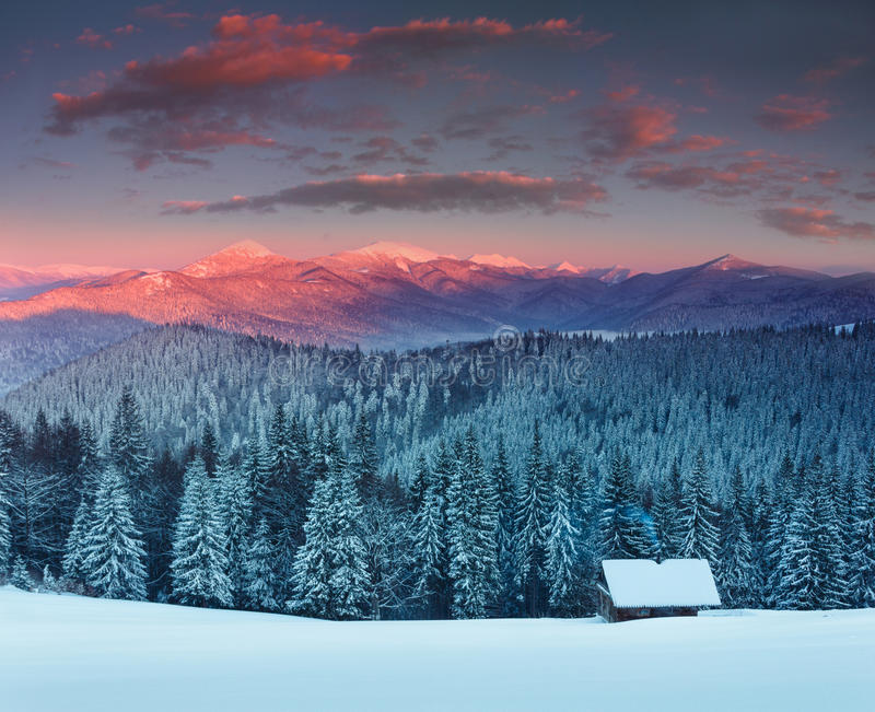 Colorful winter sunrise in the mountains. View of the fog and snow tops. stock photo