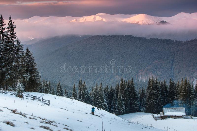 Colorful winter sunrise in the mountains. View of the old farm and tourist near. stock photo