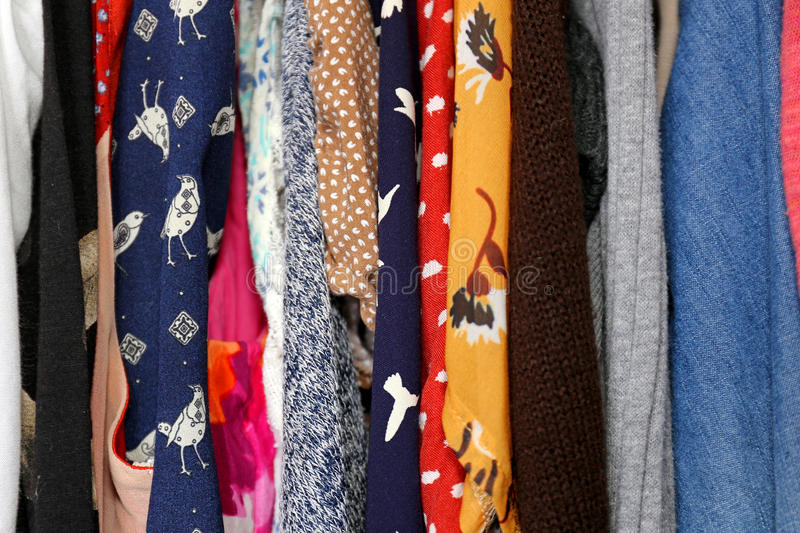 Download Colorful Womanu0027s Clothing Fabric Hanging In Closet Stock Image    Image Of Floral, Boho