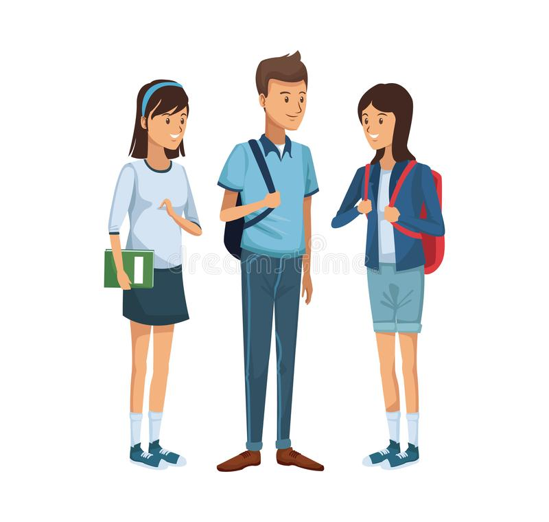 Colorful women students standing and boy with briefcase side royalty free illustration