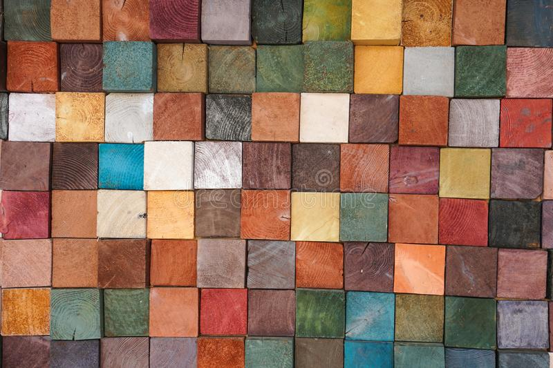 Colorful wood block tiles patterns abstract background stock photos