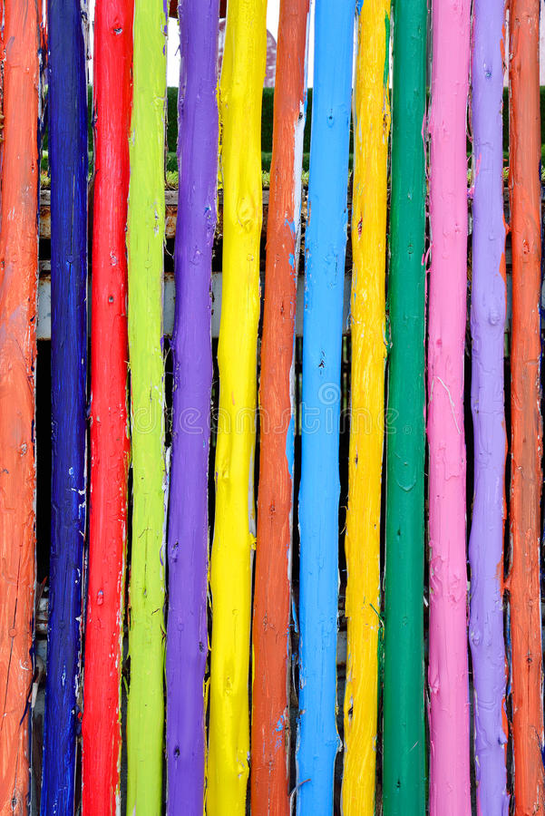 Colorful wood fance background stock image