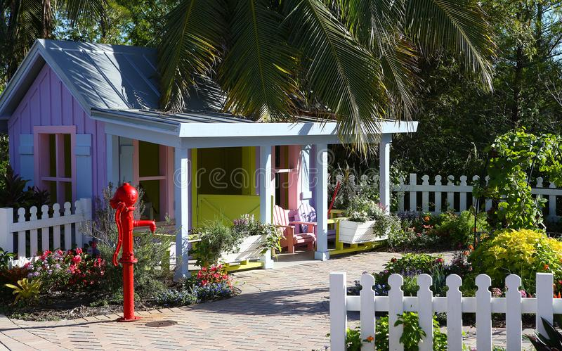 Colorful wood house in Naples, Florida stock photo