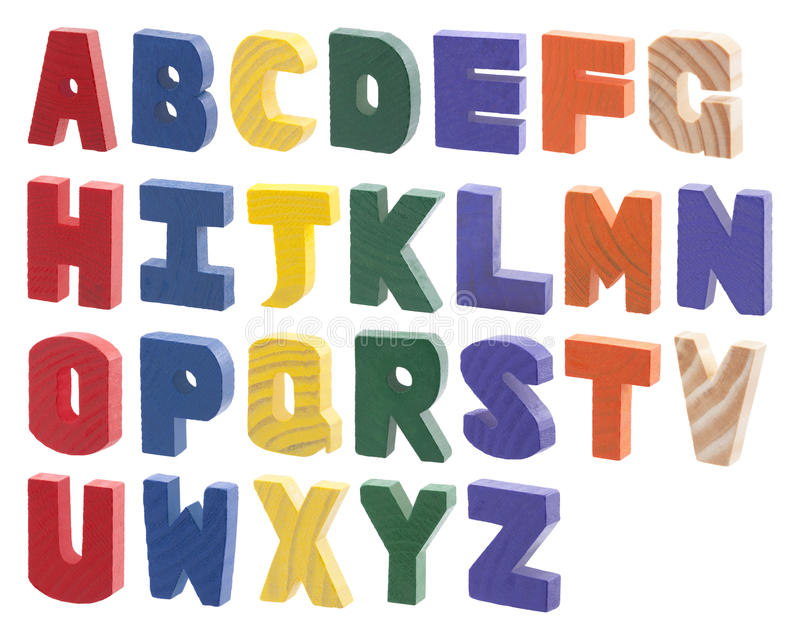 Colorful wooden alphabet. Isolated on white royalty free stock photography