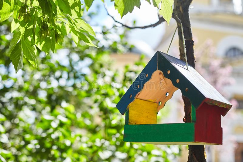 Colorful wooden bird house hanging from the tree and surrounded by lush foliage stock images