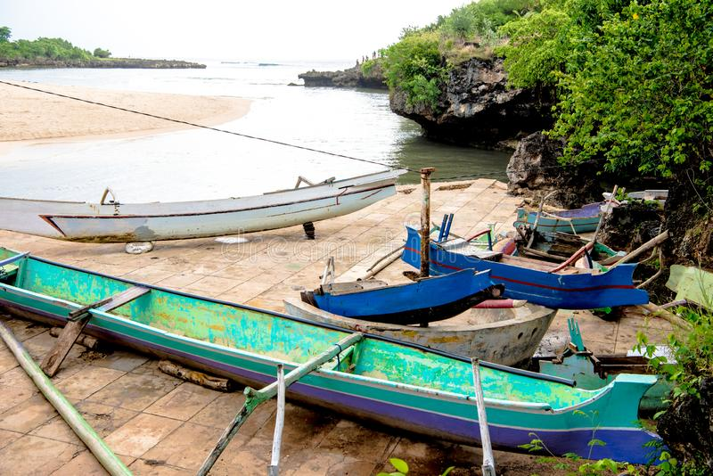 Colorful wooden boats on beach Kodi, Sumba Island, Nusa Tenggara stock photography