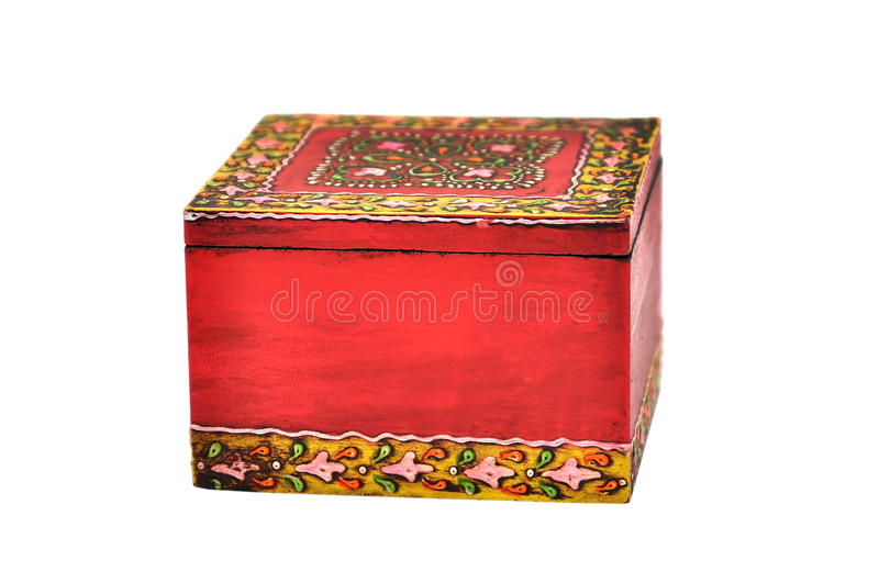 Colorful wooden casket stock images