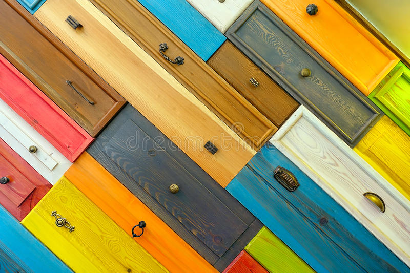 Colorful Wooden Drawer. Detail Photo stock photo