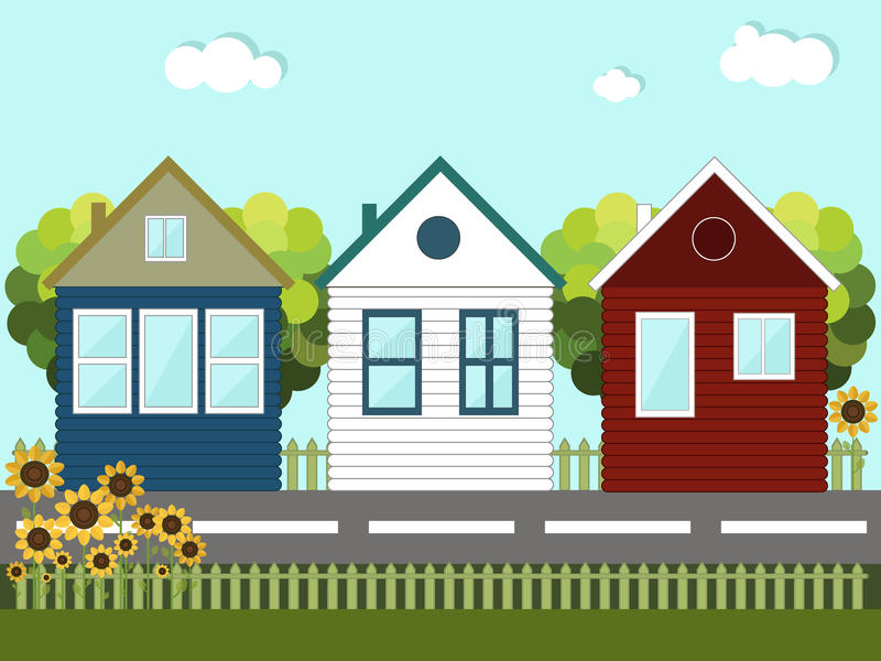 Colorful Wooden Houses. Neighbors. Sunny Quarter With Wooden Houses And Sunflowers. Healthy living concept royalty free illustration