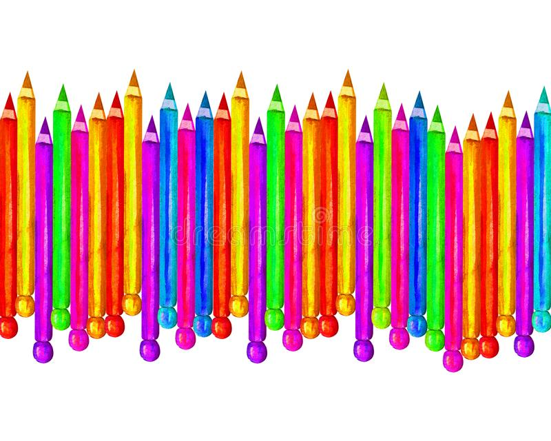 Colorful wooden pencils in watercolor, isolated on a white background, for the design of banners, postcards, greetings on the stock illustration