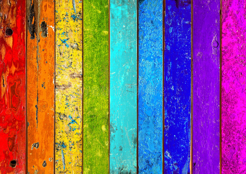 Colorful wooden rainbow background royalty free stock images