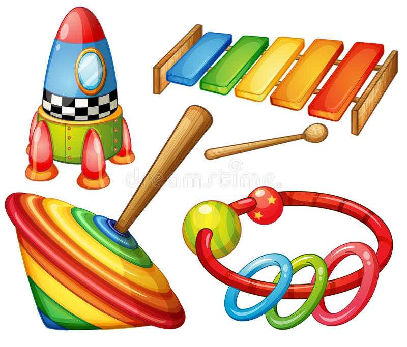 Colorful wooden toys set vector illustration