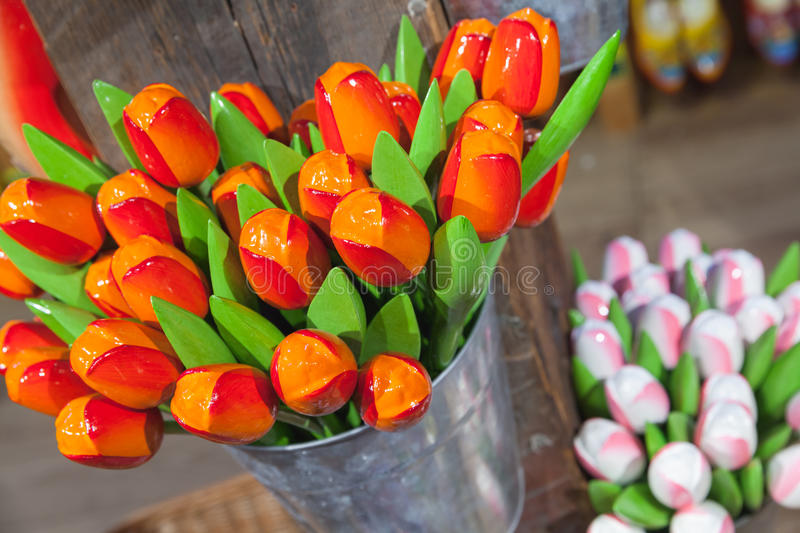 Colorful wooden tulips flowers, Holland stock photo