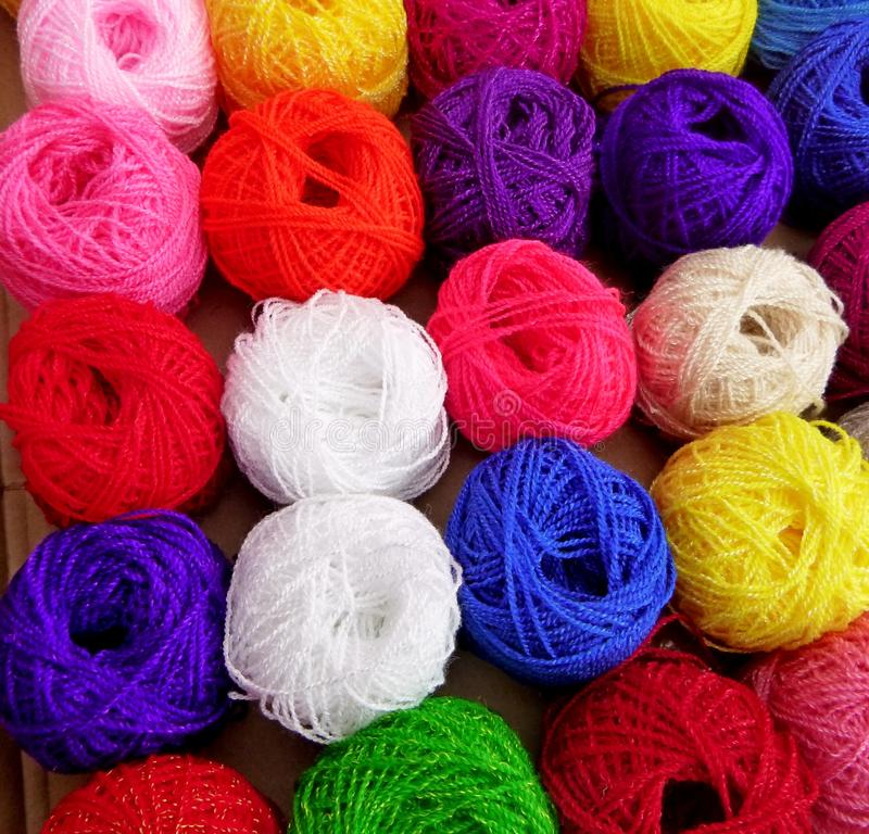 Colorful Wool Skeins. Photographed in a Market In Mexico stock photos