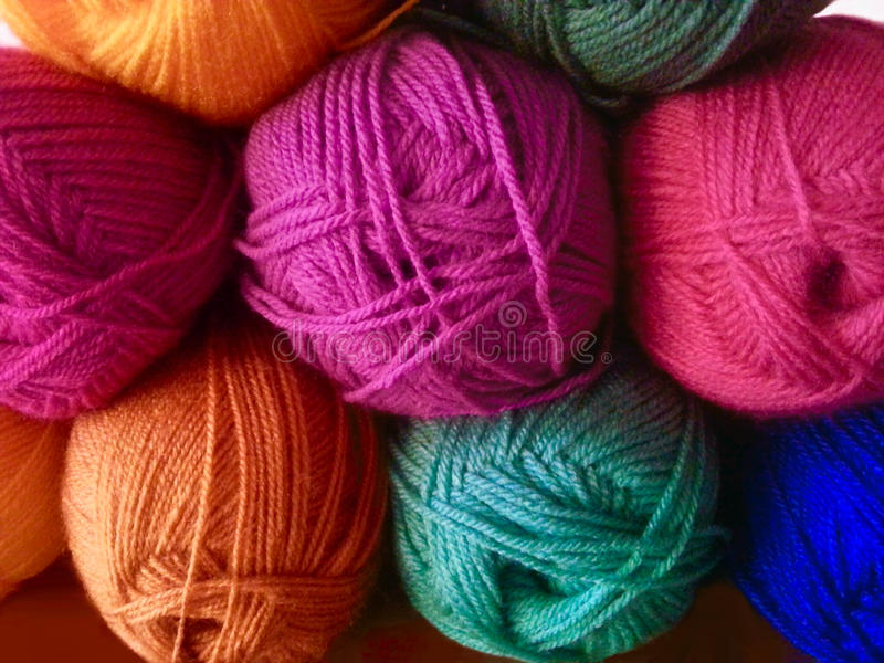 Colorful wool yarn. For knitting and crochet royalty free stock photo