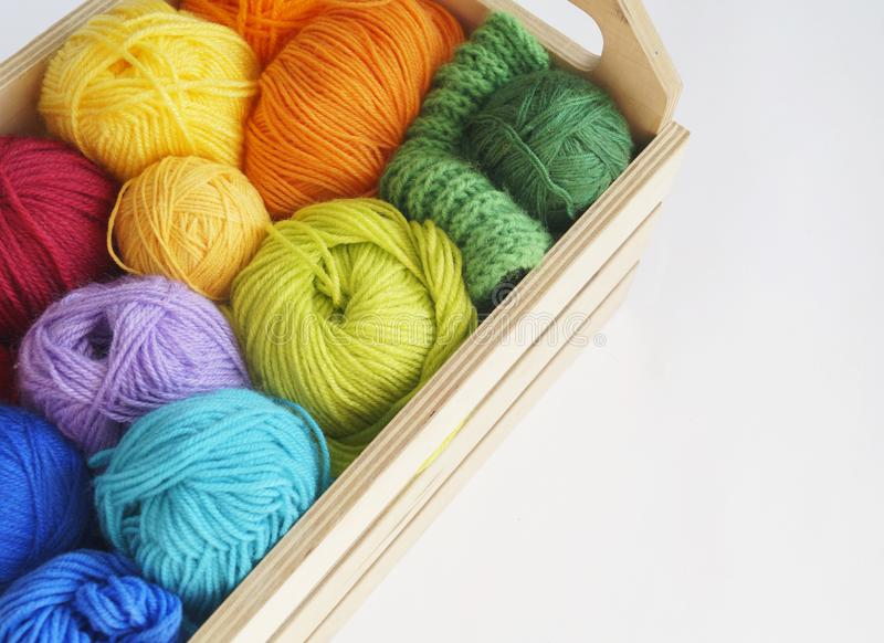 Colorful woolen balls of yarn. Balls of yarn are in the basket. Needlework. royalty free stock photo