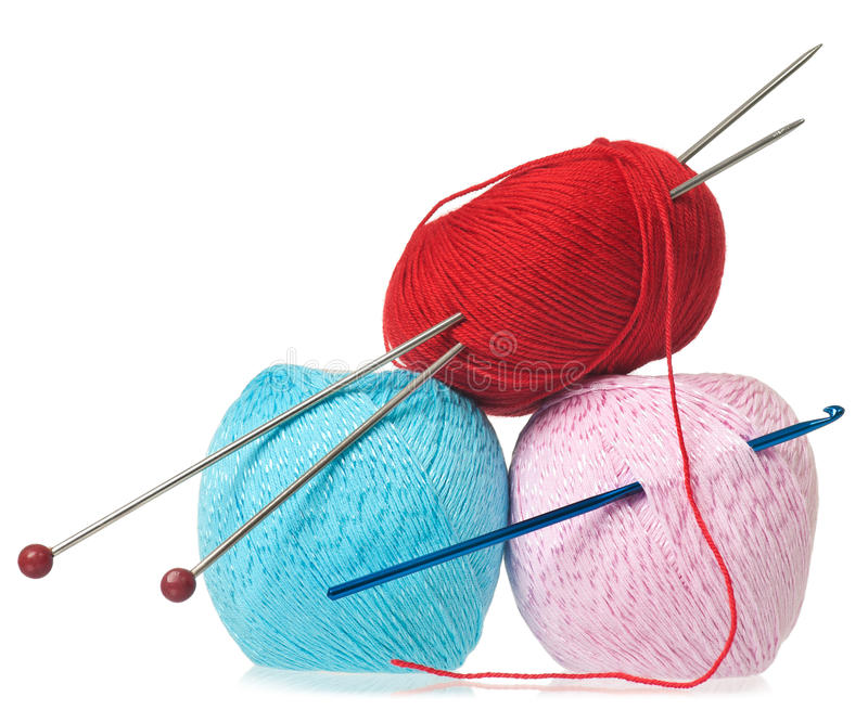 Colorful woolen threads stock photography