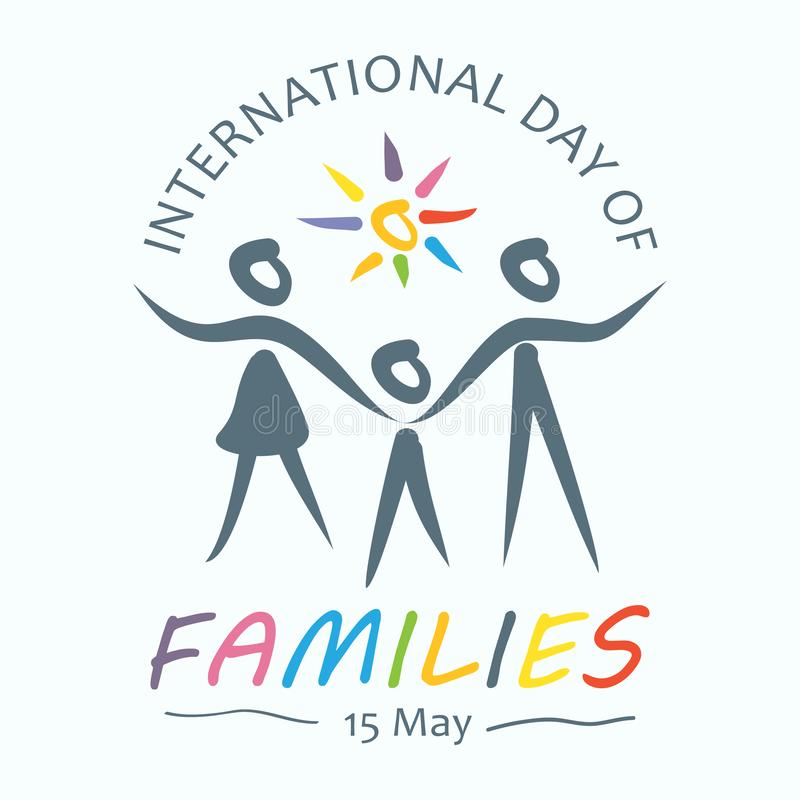 Colorful word of international day of families with family holding hands stock illustration