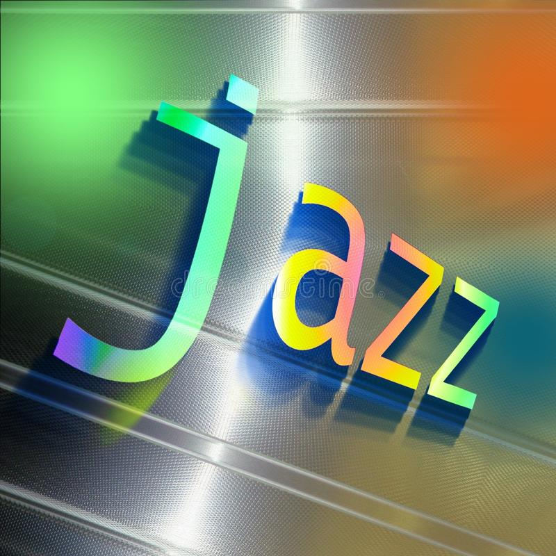Colorful word JAZZ on reflecting abstract aluminum plate. Music information concept. vector illustration