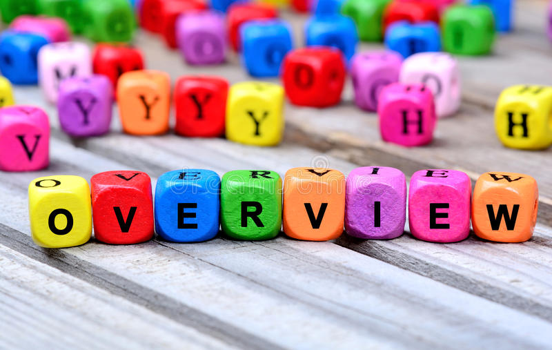 The colorful word Overview on table royalty free stock photos