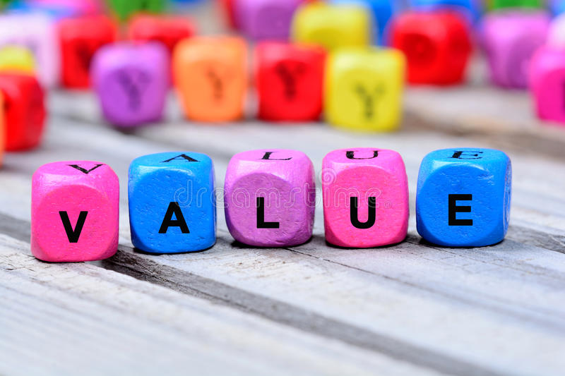 The colorful word Value on table stock photos