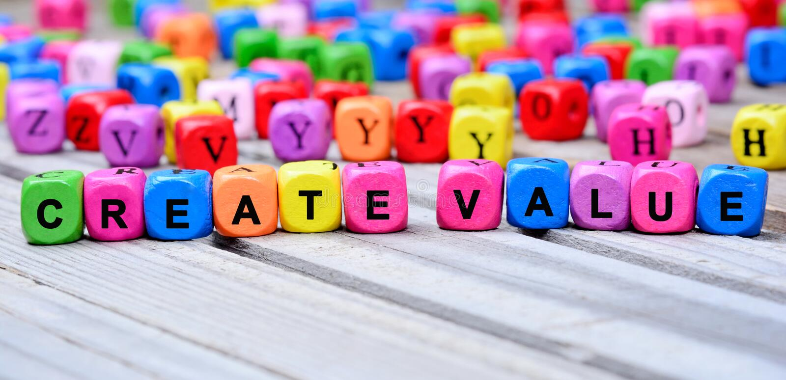 The colorful words Create Value on table royalty free stock images