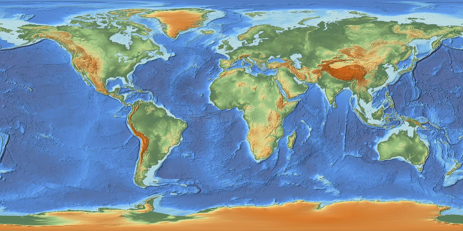 Colorful World Map with Relief. A world map with hypsometric tints and a shaded relief for the continents as well as the bathymetry to display the earth' vector illustration