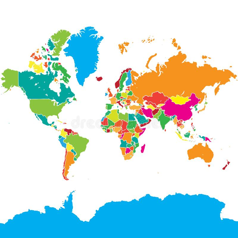 Colorful World Map royalty free illustration
