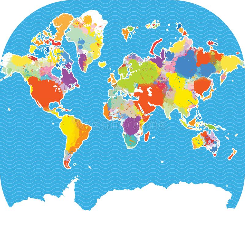 Download Colorful World Map With Vector Splatters Stock Vector    Illustration Of Global, Countries: