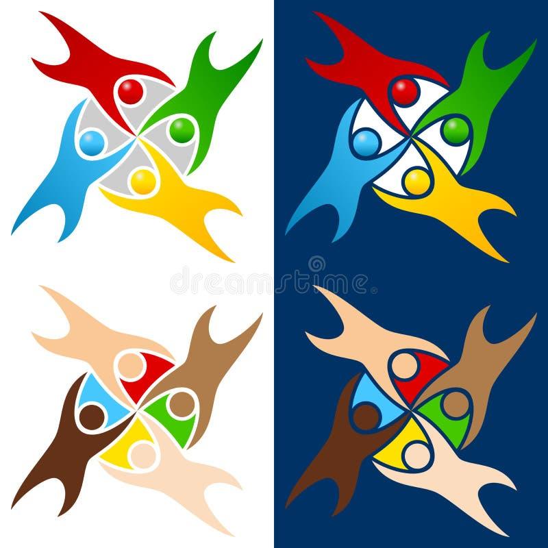 Colorful World People Logo stock illustration