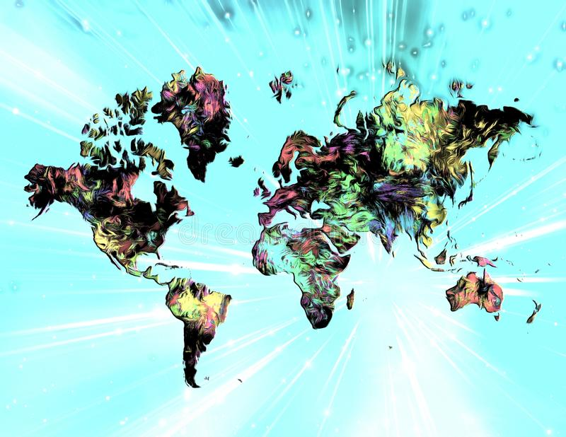Colorful world. Surreal painting. Colorful world`s map stock illustration