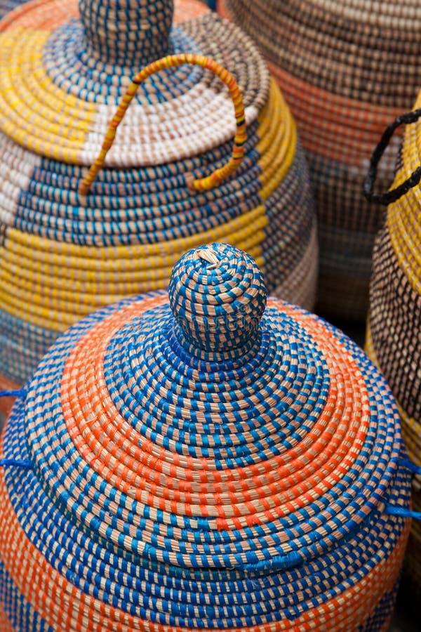 Colorful Woven Majorca Baskets royalty free stock photos