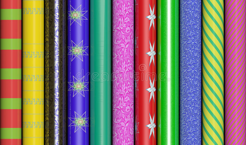Colorful Wrapping Paper. Row of colorful wrapping paper stock illustration