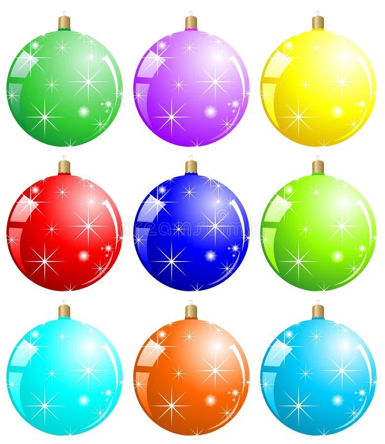 Colorful xmas balls stock illustration