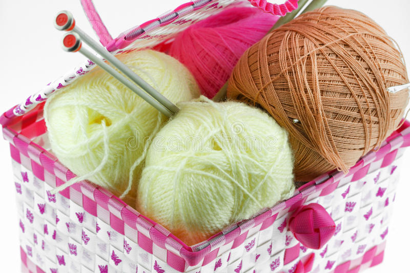 Colorful yarn balls in the basket isolated on white background. stock image