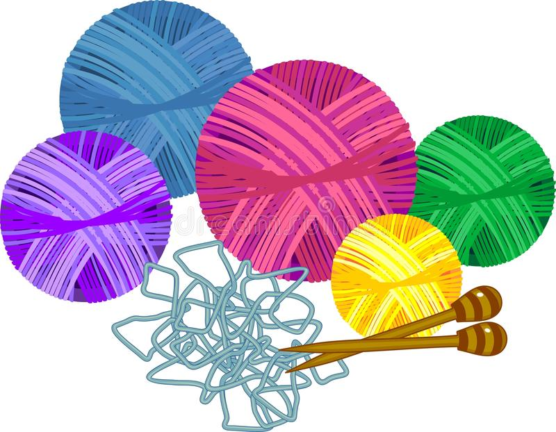 Colorful yarn balls with knitting needles. Isolated on white background vector illustration