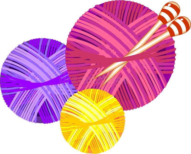 Colorful yarn balls with knitting needles. Isolated on white background royalty free illustration