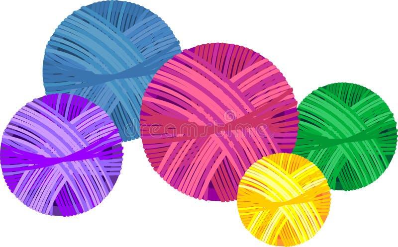 Colorful yarn balls on white background. Colorful yarn balls isolated on white background vector illustration