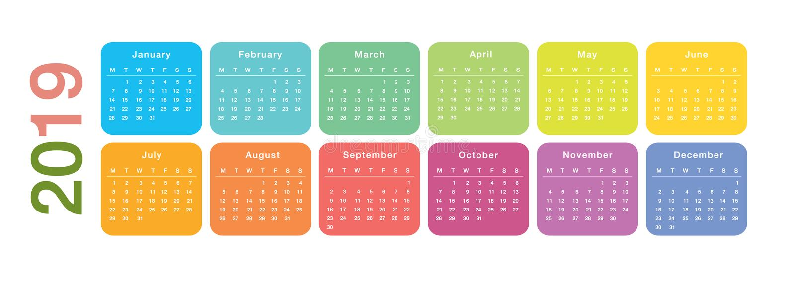 Colorful Year 2019 calendar horizontal vector design template, simple and clean design. vector illustration