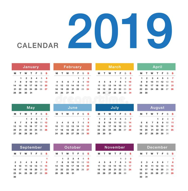 Colorful Year 2019 calendar horizontal vector design template, simple and clean design. royalty free illustration