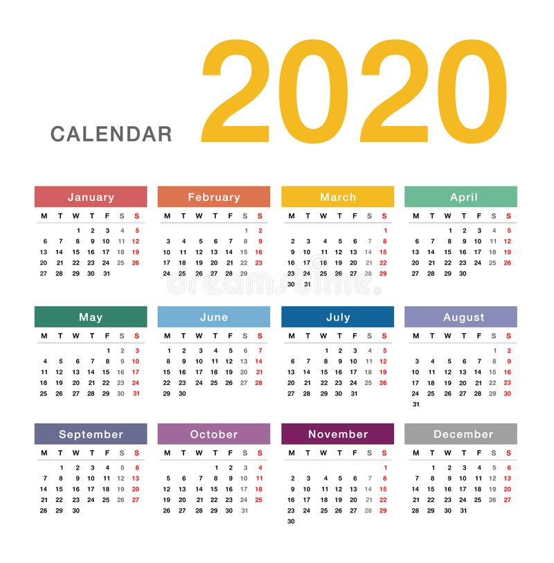 Colorful Year 2020 calendar horizontal vector design template, simple and clean design. stock illustration