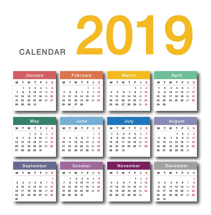 Colorful Year 2019 calendar horizontal vector design template, simple and clean design. stock illustration