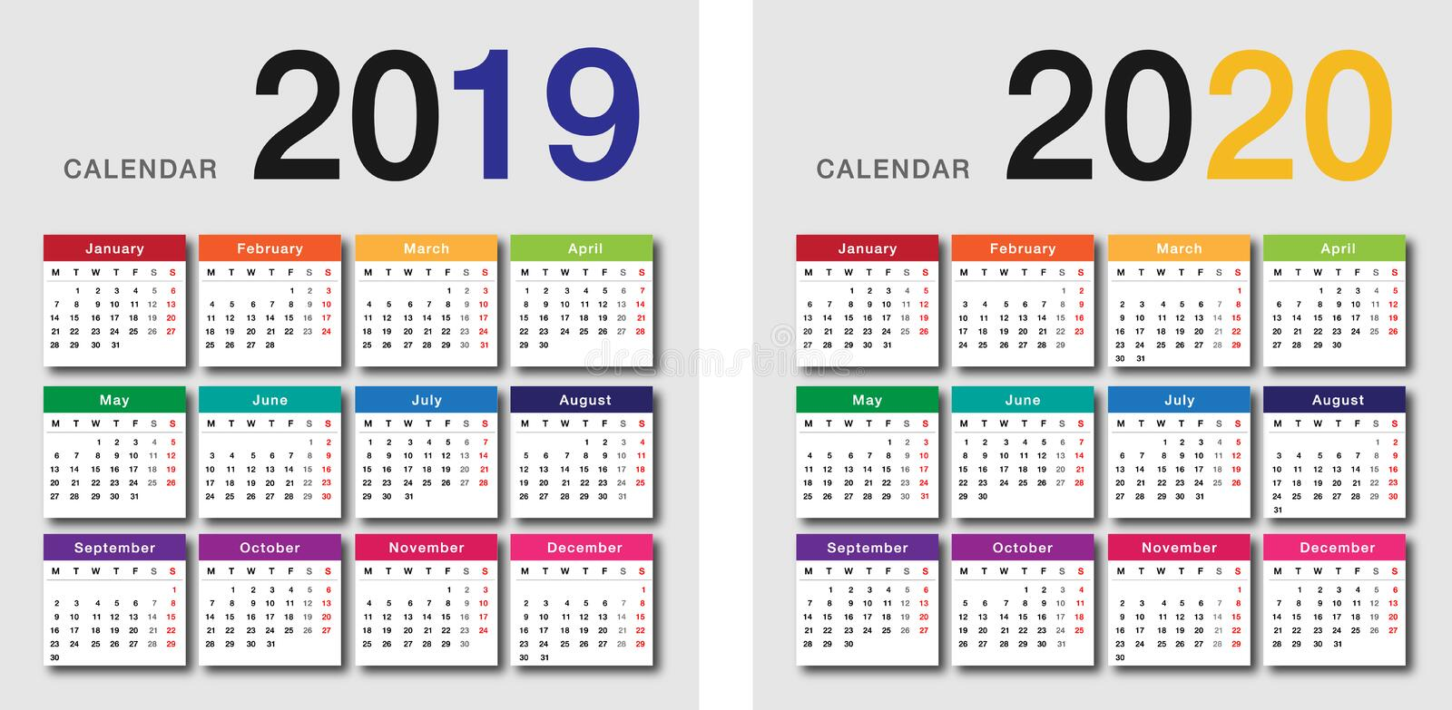 Colorful Year 2019 and Year 2020 calendar horizontal vector design template, simple and clean design. stock image